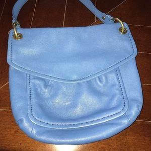 Fossil Blue Leather Shoulder Bag